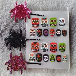 Set of Nail Stickers & Spider Bobby Pins
